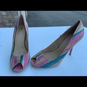 NEW Peep Toe Rainbow Heels (size 9)